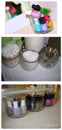 idea, nail polish, polish display, candles, nails, pretti organ, candl jar, reus candl, candle jars