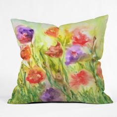 Rosie Brown Summer Flowers Throw Pillow | DENY Designs Home Accessories  #pillow #throwpillow #homedecor #denydesigns art #flowers #garden