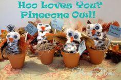 Cute Fall Kids Craft!   Hoo loves you pinecone owl!