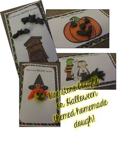 Halloween theme position word play dough mats with licorice and candy corn play dough recipes!
