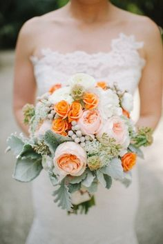 #peach #Bouquets | Photography by sheachristine.com |  Design + Planning by alovefordetail.com |  Floral Design by juliarohdedesigns.com |  Read more - http://www.stylemepretty.com/2013/07/11/miami-wedding-from-shea-christine-a-love-for-detail/ idea, peach weddings, orang, bouquets, shea christin, wedding planners, floral designs, flower, bride groom