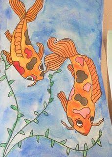 Koi Watercolor Paintings-junior high
