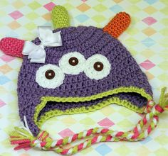 Free Monster Hat Pattern//I've been looking for a pattern that offered the ear flap directions!! Yay!!!