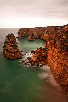 sandstone rock formations, Algarve Portugal