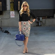 Loving how Tara of Mix & Match Fashion paired our Geo Pencil Skirt with neutral basics and a pop of color.
