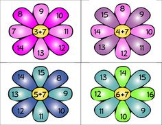 Spring Flowers Clothespin Addition Facts - Great for a center game plus ones to plus tens- students answer the addition fact in the center by placing a clothespin on the petal with the correct answer$3.00