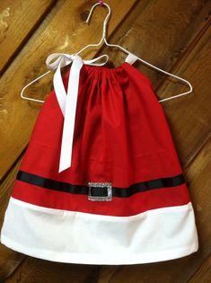 Santa Girl  pillow case dress. $25.00, via Etsy.