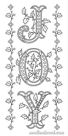 JOY - Hand Embroidery Design with Monograms on Needle 'n Thread at http://www.needlenthread.com/2012/12/joy-3-putting-the-design-together-patterns.html hand embroidery, christmas cards, christmas embroidery patterns, hand embroideri, christmas signs, christmas windows, embroidery designs hand, coloring sheets, window art