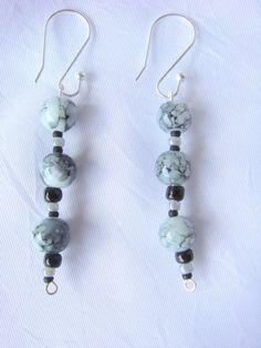 Grey and Black Dangle Earrings/ Black and by LittleGemsandMore, $10.00