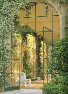 glass doors, houses, dream, gardens, windows, ivy, place, greenhouse gardening, sunroom