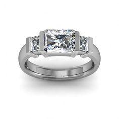 Bar set with three radiant cut stones - unique engagement rings  #radiantcut #engagement #engagementrings #jewelry #artdeco #weddings $1061.30