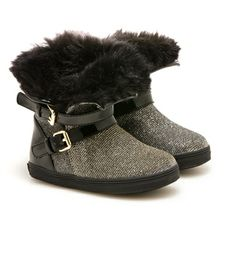 BABYSNOW | Stuart Weitzman #shoes #bootie #winter #baby #fur #black #gold #alittleobsessedwithshoes