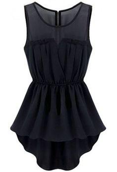 Black Sleeveless Back Zipper Bandeau High Low Dress - Sheinside.com