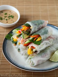 Healthy Spring Rolls with Peanut Dipping Sauce by WillCookForFriends, with vegan options