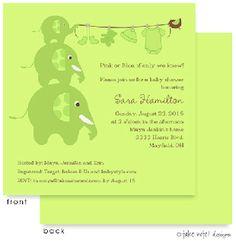 Baby Showers : Elephants Clothesline Green Invitation