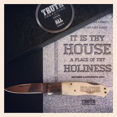 """TRUTH TREASURES premier knife is the perfect Father's Day gift. The TRUTH is the TREASURE on this one-of-a-kind pocket knife with high quality 5x7 frame able mini-poster, and exquisite gift box included. On this model we use white bone and it is the best looking pocket knife in our line. Everything about this knife shows class and quality. The 3 ¼"""" handle using the real natural bone with brass pins is stunning. The mirror polished bolsters with scrollwork design and the file work on the lock-..."""