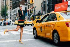 Giovanna Battaglia wearing the ARI pump at NYFW
