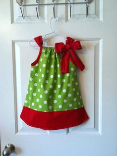 Red and LIme Green Polka Dot Pillowcase Dress by dainteedesigns