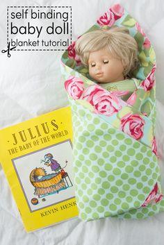 Self Binding Baby Doll Blanket Tutorial on polkadotchair.com