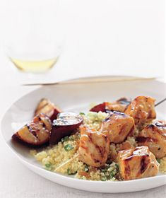 Pork Kebabs With Grilled Plums and Couscous Recipe from realsimple.com. #myplate #protein #fruit