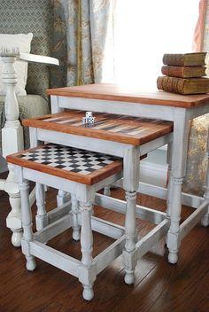 Nesting/gaming table (use white/aqua colors for a coastal-beach house effect).