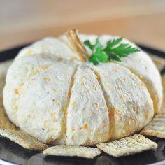 Pumpkin shaped cheese ball - Halloween party