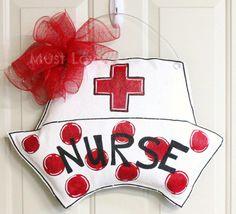Nurse RN LPN Hat Burlap Door Hanger Hospital by MustLoveArtStudio, $40.00