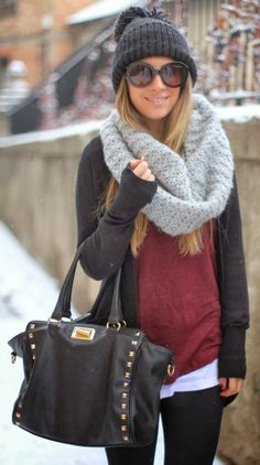 Warm casual winter outfit fashion with scarf..........this is so you, all dressed up and everywhere to go