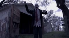 http://www.grandinroad.com/new-animated-shaking-zombie/454559?defattrib===2 This video of the Animated Shaking Zombie is utterly terrifying. Scare guests and trick-or-treaters as they come to your door and are greeted by a moaning and staggering Zombie.