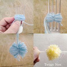 Pom Poms made on a fork {via Twiggy Nest}  #crafts #pompom #yarn #fork