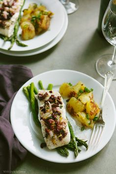 Baked Halibut with Olives, Asparagus & Potatoes / Dairy-Free / Gluten-Free