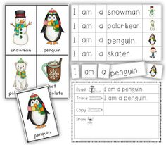 Making and Writing Winter Sentences for Kindergarten {vocab cards & sentence work}   Winter learn to read centers for Kindergarten, using basic sentence structures.$