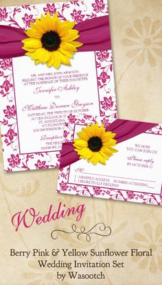 Berry pink and yellow sunflower floral and ribbon wedding invitation and rsvp card stationery set. Click to go to the wedding invitation: http://www.zazzle.com/sunflower_pink_damask_floral_wedding_invitation-161116858892586796?rf=238519505587130819&tc=pinterest  $2.15 per wedding invitation. Volume discounts available. Table card, place cards, address labels also available.   #weddinginvitations #weddings #weddingstationery #sunflower