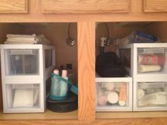 Use drawers for bathroom cabinet storage organization. So wish I would have done this sooner!