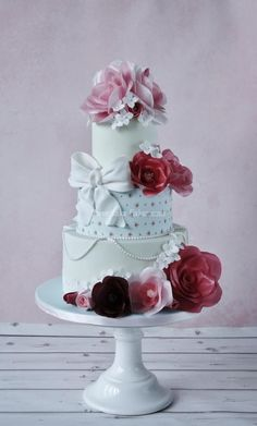 Shabby chic wafer paper flower cake part 2