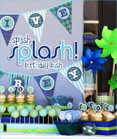 Adorable Swim Party birthday bash, pool parties, birthday parties, party themes, splash party, blue green, summer birthday, splish splash, birthday ideas