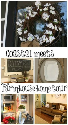 Coastal meets farmhouse home tour. Lots of neat, diy thrifty home decor ideas.