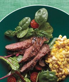 Cajun Skirt Steak With Creamed Corn recipe dinner, cream corn, skirts, cajun skirt, steaks, food, skirt steak, 2013 recip, corn recip