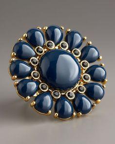Kate Spade  navy 'glossy garden' ring