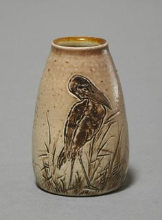 Martin Brothers Pottery - Wally Bird Vase. Incised, Painted & Glazed Stoneware. Southall, Middlesex, England. Circa 1904. 6.7cm x 4.1cm.