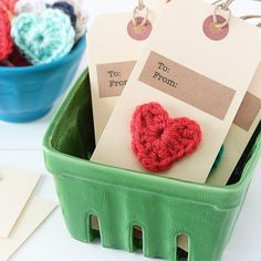 Super cute and fun crochet heart gift tags! Make the crochet hearts or buy them. Pattern included!
