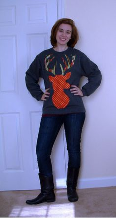"DIY: Festive Reindeer Sweatshirt: ""The Alternative Ugly Christmas Sweater""    >>>via themodernausten.com"