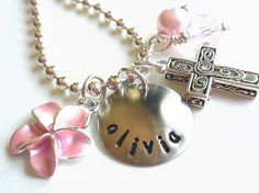 Flower Girl Necklace Hand Stamped Charm Necklace by LillyEllen, $20.00