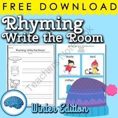 Rhyming Write the Room Winter Edition | Free from Selma Dawani on TeachersNotebook.com -  (7 pages)  - A short write the room activity for students that need practice with rhyming. Includes cards and recording sheet. The activity is differentiated and includes 2 sets, one with words and one without.