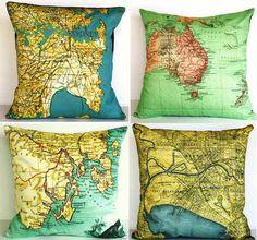 Map Pillows for baby boys World Traveler/Architect room