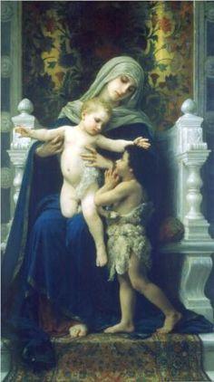 The Virgin, Jesus and Saint John Baptist by William-Adolphe Bouguereau