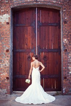 Bride's in front of doors. www.oliverink.etsy.com wedding trends 2014