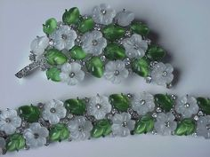 Vintage Trifari Fruit Salad Bracelet and Brooch Pin Set