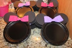 Decorated plates at a Minnie Mouse party!   See more party ideas at CatchMyParty.com!  #partyideas #minniemouse