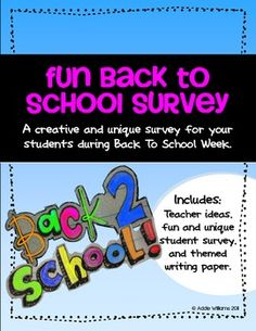 FREE fun and unique back to school survey for Middle / High school students.  Happy Back to School!